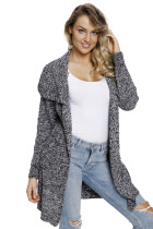 Gray Chunky Long Cardigan with Side Pockets