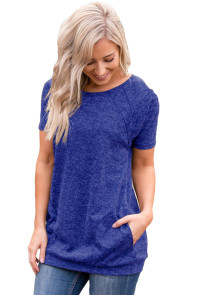 Royal Blue Heathered Short Sleeve Pocket Tee