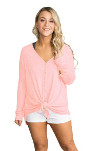 Pink Waffle Knit Button Front Blouse