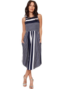 Navy White Striped Sleeveless Midi Dress