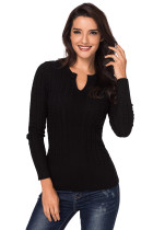 Black Ribbed Cable Knit Women Sweater