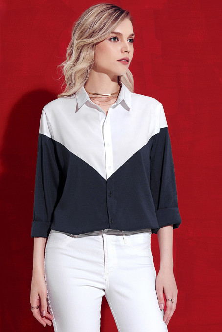 White Navy Color Block Relaxed Boyfriend Shirt