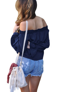 Navy Blue Elastic Off Shoulder Tie Front Bell Sleeve Top