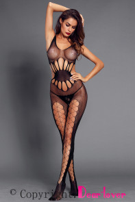 Black Transparent Hollow Out Mesh Body Stocking