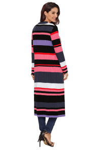 Multicolor Striped Colorblock Open Front Long Cardigan
