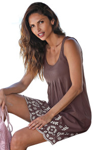 Bohemian Flowery Detail Coffee Short Tank Dress