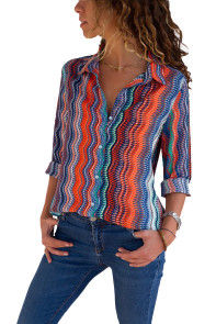 Eye-catching Zigzag Long Sleeve Button Down Shirt