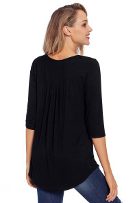 Black 3/4 Sleeve Button Detail Pleated Tunic