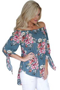 Sage Blue Floral Elastic Off Shoulder Top