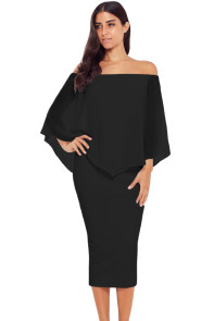Black Off Shoulder Sleeve Detail Bodycon Midi Dress