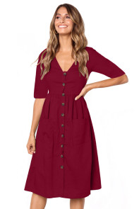Burgundy Button Front Midi Dress with Pockets