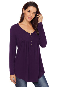Purple Long Sleeve Button up Pleated Tunic