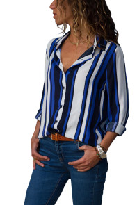 Blue White Striped Long Sleeve Button Down Shirt