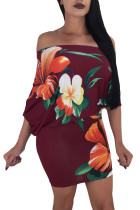 Batwing Sleeve Skew Neck Burgundy Floral Bodycon Dress