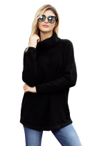 Black Ribbed Sleeves Turtleneck Sweater Pullover