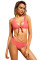 Rosy Brazilian Tied Push Up Bikini Swimsuit