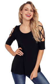 Black Caged Cutout Half Sleeve Top