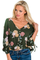 Vanilla Floral Button up Top in Green