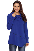Royal Blue Button Detail Asymmetric Cowl Neck Sweatshirt