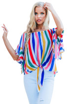 Multicolor Off The Shoulder Vertical Stripes Blouse