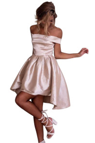 Pink Off Shoulder Pleated Satin Homecoming Dress