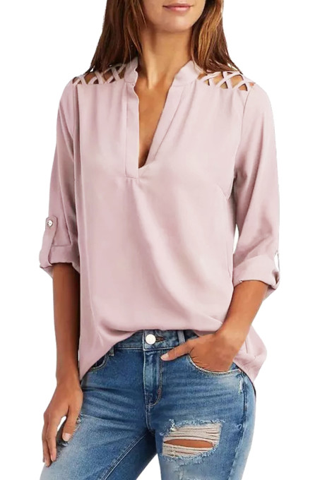 Taro Purple Crisscross Shoulder Detail Roll Tab Blouse
