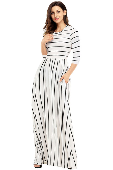 White Black Striped Casual Pocket Style Maxi Dress