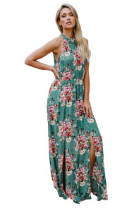 Green Floral Print Front Slit Halter Boho Dress