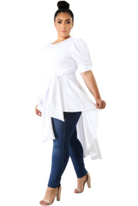 White Puff Long Tail Plus Size Top