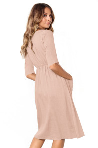 Pink Button Front Midi Dress with Pockets