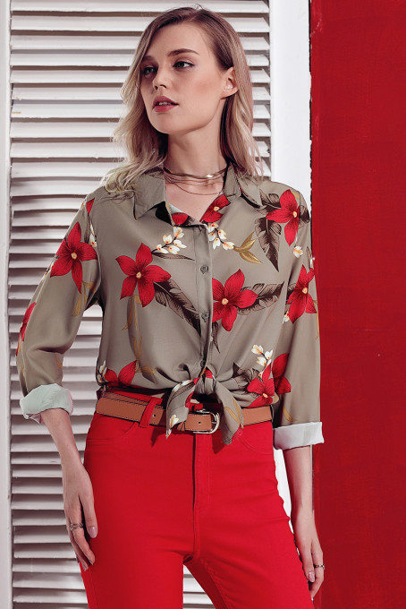 Green Long Sleeve Floral Print Button Front Shirt