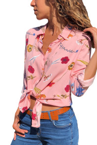 Pink Long Sleeve Floral Print Button Front Shirt
