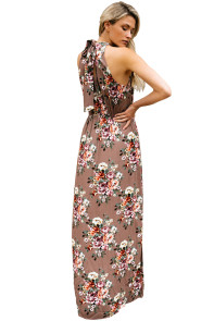 Brown Floral Print Front Slit Halter Boho Dress