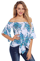 Navy Floral Tie Front Off The Shoulder Top