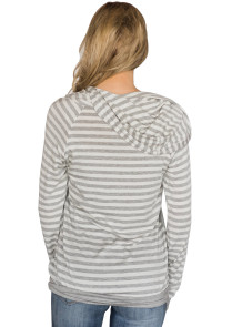 Light Gray Double Hooded Striped Sweatshirt