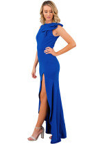 Royal Blue Asymmetric Ruffle Detail Side Slit Party Dress