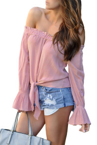 Pink Elastic Off Shoulder Tie Front Bell Sleeve Top