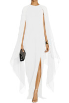 White Crepe Flared Sleeve Bodycon Maxi Dress