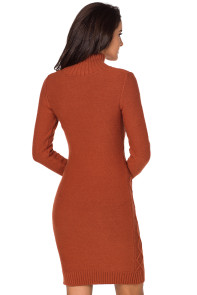 Burnt Orange Cable Knit High Neck Sweater Dress