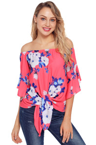 Rosy Floral Tie Front Off The Shoulder Top