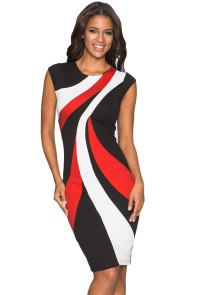Red Accents Colorblock Geometric Pattern Tube Dress