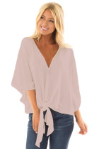 Pink Tie Front Comfy Kimono Blouse