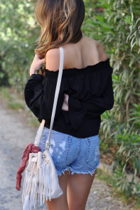 Black Elastic Off Shoulder Tie Front Bell Sleeve Top