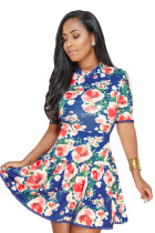 Royal Blue Multicolor Floral Lace-up Back Short Skater Dress