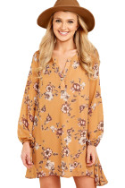 Mustard Floral Print V Neck Chiffon Dress