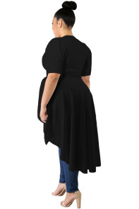 Black Puff Long Tail Plus Size Top