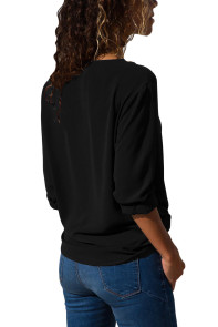 Black Turndown Collar Asymmetric Button Down Blouse