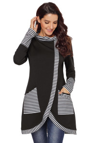 Black Asymmetric Striped Cowl Neck Top