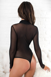 Black Sheer Long Sleeve V Neck Bodysuit