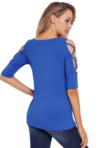 Royal Blue Caged Cutout Half Sleeve Top